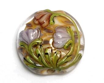 Antique Garden Lentil Focal Bead - Handmade Glass Lampwork Bead 11815002