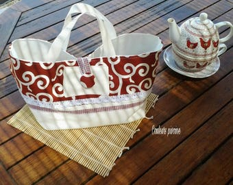 Basket items or multi-use fabric and unbleached cotton canvas Japanese Burgundy