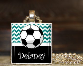 1 Personalized Teal Soccer Pendant Necklace 15 Color Choices soccer team soccer team gift middle school high school jv varsity gifts