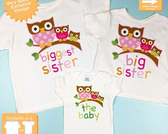 Trending Tshirts Biggest Sister Shirt Big Sister Shirt and The Baby Shirt Set Personalized Owl Tee Shirt or Onesie Set of Three (09212012a)