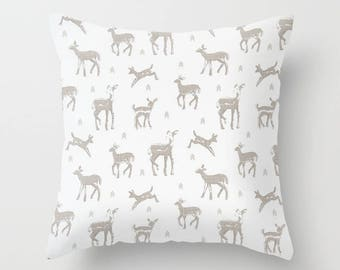 Deer Pillow cover Fawn Pillow Cover Decorative Pillow Cover Grey Pillow Woodland pillow