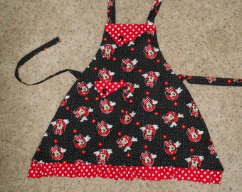 Minnie Mouse Black with Red Polka Dots -  Girl's Apron - pocket - ruffle - Disney