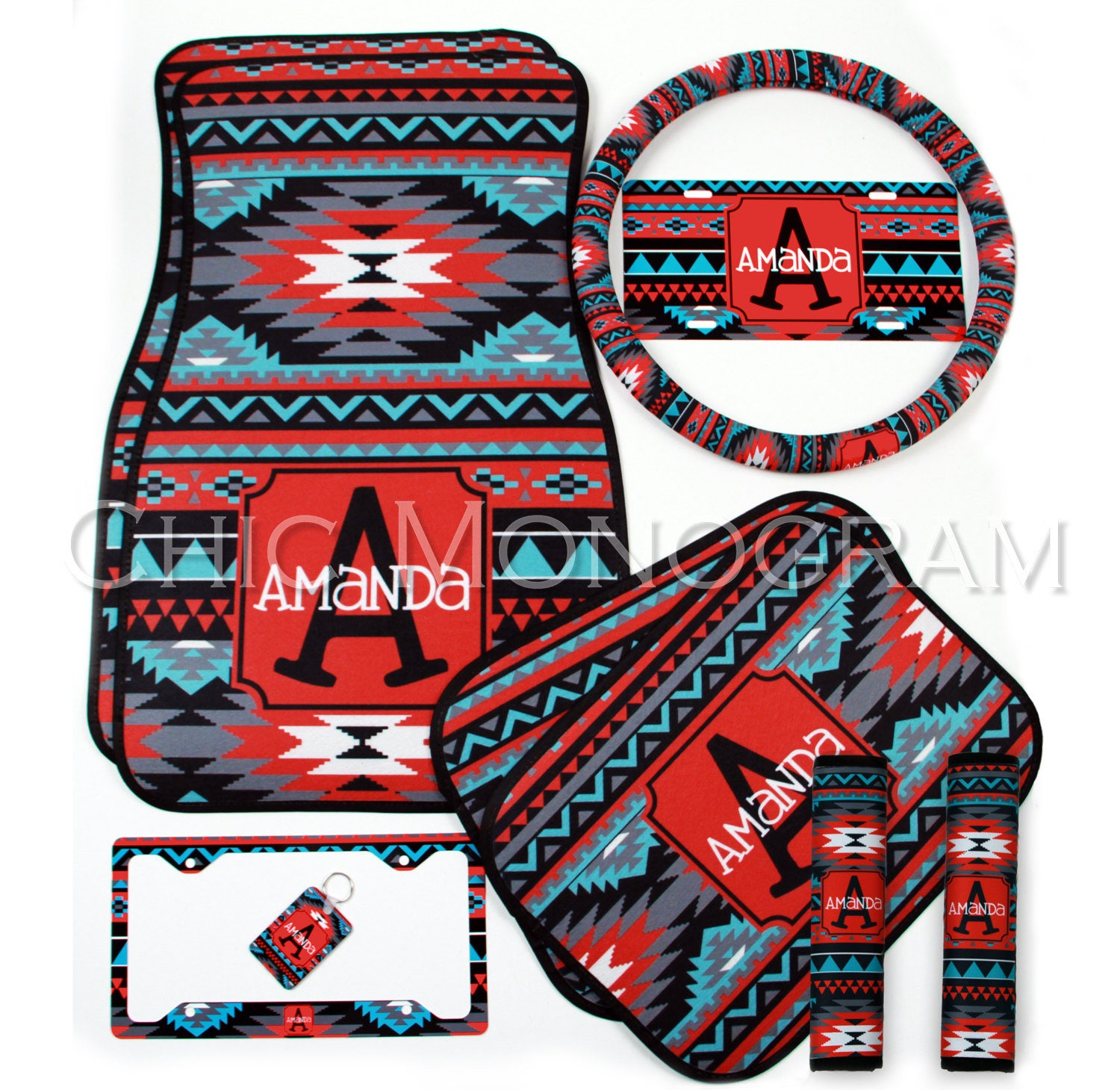 aztec tribal car accessories mix and match personalized car mats steering wheel cover license