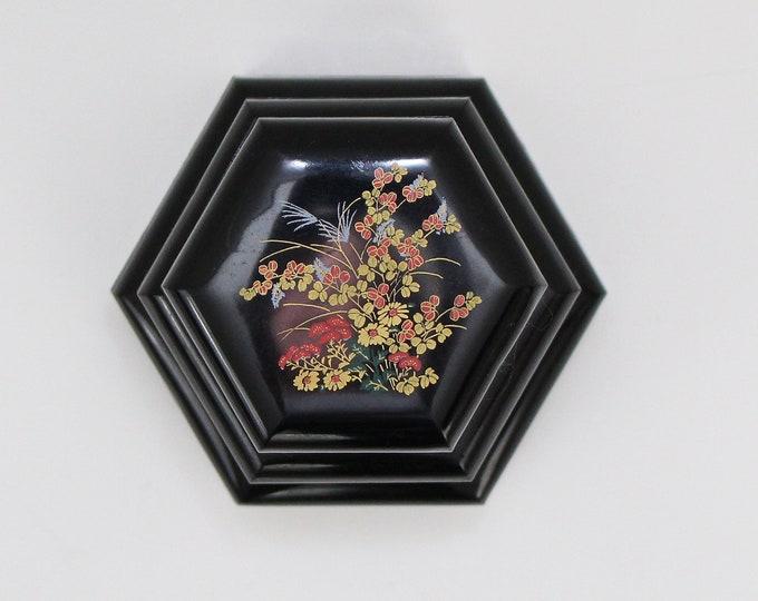 Vintage 1970s Asian Floral Vanity Nesting Boxes