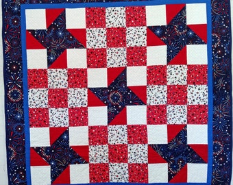 Patriotic quilt, Stars and Stripes quilt, father's day, americana quilt, handmade quilt, military, red white and blue, fourth of july quilt