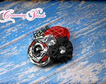 Red, Black, Ivory Headband, Fabric Flower Hair Clip, Cream, Crimson, Fabric Flower Brooch, Red Hair Piece, Hair Bow, Baby Hair Accessories