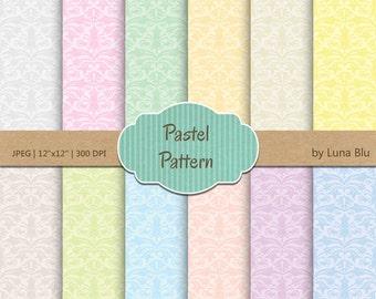 "Pastel Digital Paper: ""Pastel Patterns"" soft pastel digital paper, damask patterns, for scrapbooking, cardmaking, crafts"