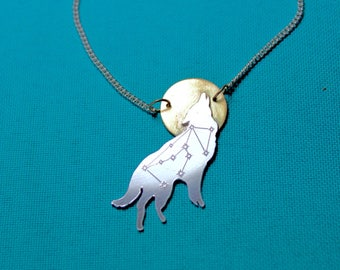 Lupus - sterling silver wolf necklace with constellation engraving and gold moon