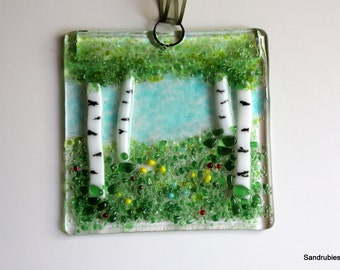 Aspen in Spring Wall Hanging in Glass