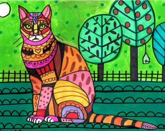 50% SALE- Bengal Cat Art Poster Print of painting by Heather Galler (HG173)