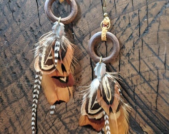 Gathering Spirit : Bohemian wooden hoop earrings with pheasant feathers
