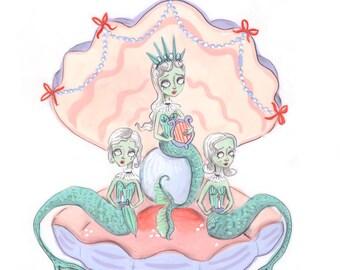 Siren Choir 5x7 Illustration Print