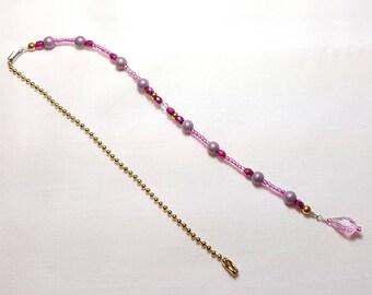 Mauve Fuchsia Pink Crystal Beaded Fan Pull