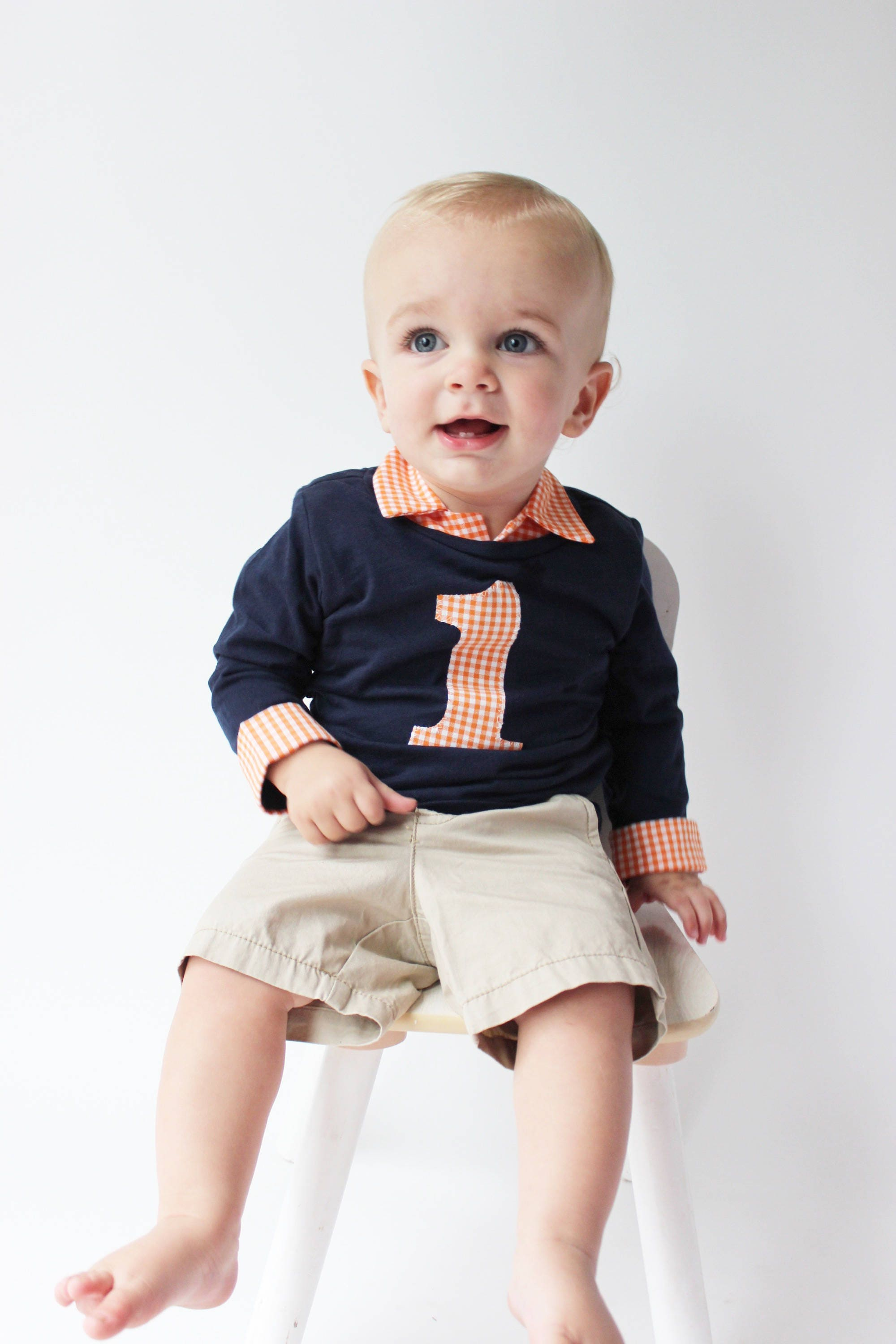 Baby Boy Outfit Navy and Orange FIrst Birthday Outfit Baby