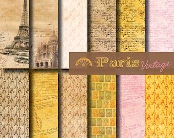 Digital paper Paris Vintage Mail