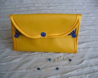 Yellow leatherette jewelry pouch, floral fabric