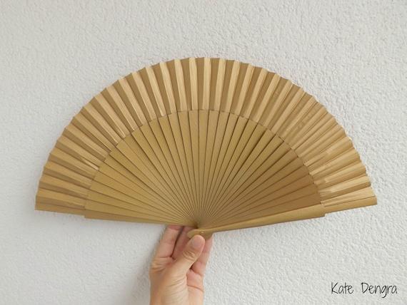 Std Plain Gold Wooden Hand Fan Customizable