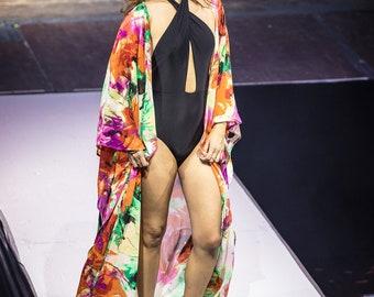 Swimsuit Cover-up, Beach Cover-ups, Swim Cover-ups    Robe, Side-slit (long)    Swimwear, Resortwear, Beachwear, Loungewear    {Kyla Robe}