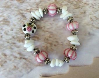 Sea Glass and Lampwork Beaded Bracelet, Pink & White, Beach, Coastal, Nautical, Gift