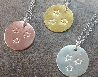 Tri-Star Necklace Gold Sterling Silver Copper Tennessee