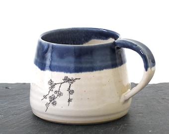 Blue and white ceramic blossom flower mug, handmade mug, coffee mug cup, illustrated ceramics, stoneware pottery