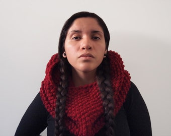 custom knit chunky textured hood cowl-- the teres in cranberry