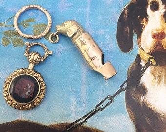 Antique Victorian Gold Enamelled Spaniel Charm