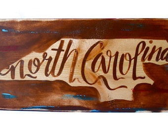 Handpainted-Distressed North Carolina State Sign