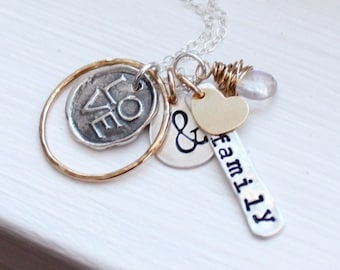 Hand Stamped Necklace, Mothers Necklace, Personalized Necklace Family Necklace Mommy Jewelry Mothers Day Gift Idea