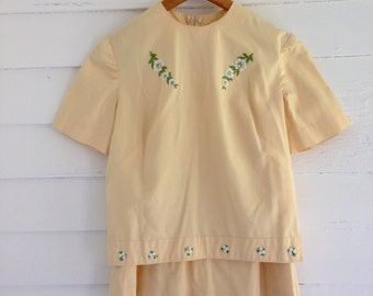 Vintage CITRUS Yellow 1950s Skirt Set with Embroidered Flower Detail