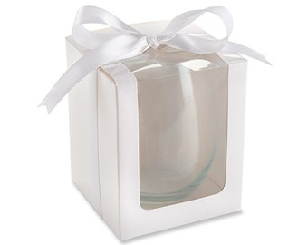 White Gift Box For 15 Once Stemless Wine Glasses (Set of 12) Only Sold Together With Our Stemless Wine Glasses