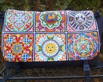 Large Messenger Bag, Diaper Bag, Laptop bag, Project Bag, Mosaic Tiles Panther