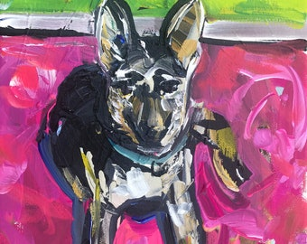 """German Shephard Puppy Painting, abstract on canvas, 8x10, """"The Watcher"""""""