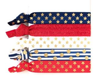 Stars + Stripes Hair Tie Set // Red, White + Blue Creaseless Elastic Hair Tie Bracelets, Fourth of July Hair Tie Bracelets, Red White Blue