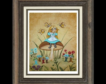 Alice In Wonderland Art Print  - Bread and Butter Flies -- Momeroths -  Fairytale Art Print
