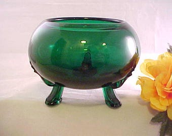 Mid Century Viking Glass Evergreen Flowerlite Rose Bowl, Vintage Home Decor Emerald Green Footed Flower, 3 Toed Forest Green Votive Holder