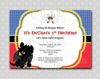 How to Train Your Dragon Birthday Invitation - Digital Printable Birthday 5x7 Invite