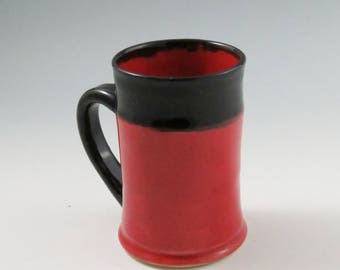 Red Pottery Mug,Black Ceramic Mugs,Red Ceramic Mugs,Ready to Ship,Red Kitchen Decor,Red Tea Mugs,Beer Mug,Soul Shine Pottery,Red Beer Stein