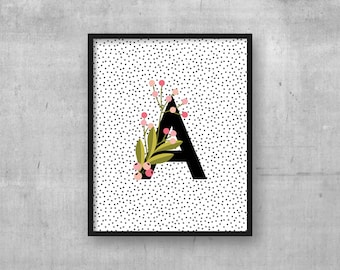 Instant digital download kids room wall art print - Monogram initial - Baby nursery poster - Nursery art decor - Initial - Letter A print