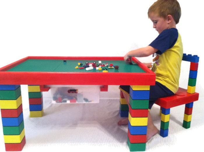 🔎zoom  sc 1 st  Etsy & Children\u0027s Table and Chair Lego Table Kids Table