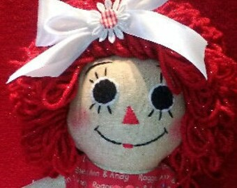 SPARKLE ANNIE 18 inches, Raggedy Ann doll, red sparkle hair, red dress, apron, pantaloons, hair bow, gift for little girl , kid's room decor