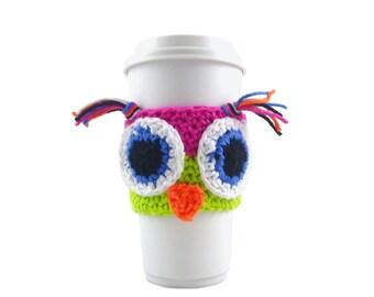 Crochet owl travel mug sleeve PATTERN, FREE printable template, DIY, do it yourself crochet pattern