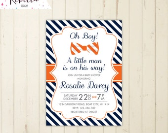 orange boy baby shower invitation navy and orange its a boy its a little man baby shower invite bow tie invitation navy baby shower 155