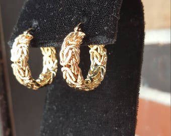 14k Turkish Byzantine Style Yellow Gold Hoop Earrings