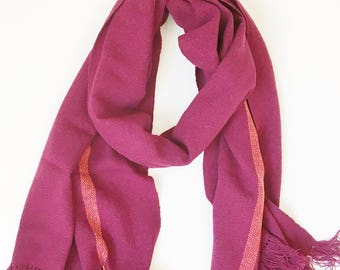 "Cashmere Scarf Bordeaux with Orange Line 19.5"" x 76"""