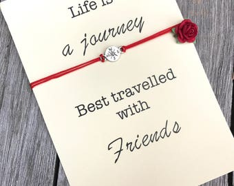 Friendship bracelet, Gift for friends, Wanderlust, Friendship gifts, Friendship jewelry, Compass bracelet, Life is a journey, Bff gifts, A7