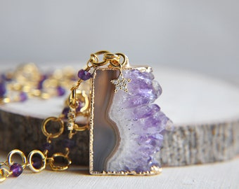 Amethyst Necklace, Raw Amethyst, Amethyst Jewelry, Birthstone Necklace, Birthstone Jewelry, Stone Necklace, Purple Necklace, Gifts For Her