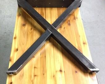 X Metal Table Legs   Natural Rustic Finish   SET OF 2