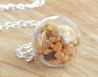 Bee Pollen Necklace, Flower Pollen Granules, Glass Globe Pendant, Beekeeper Gift, Gardener, Nature Lover, Nature Jewelry, Bee Jewelry