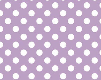 Lavendar Polka Dot Fabric - Riley Blake Medium Dot - Purple and White Dot Fabric